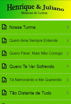 Henrique&Juliano Letras Música apk screenshot