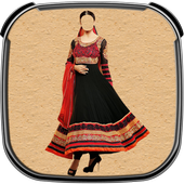 Indian Woman Dress Photo Suit icon