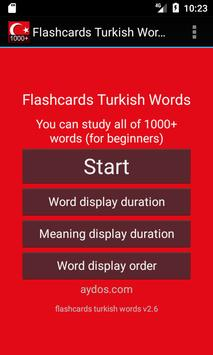 Flashcards Turkish Words poster