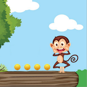 banana monkey run icon