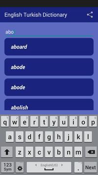 English Turkish Dictionary screenshot 1
