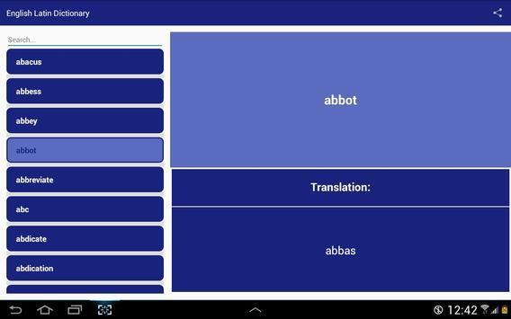 English Latin Dictionary apk screenshot