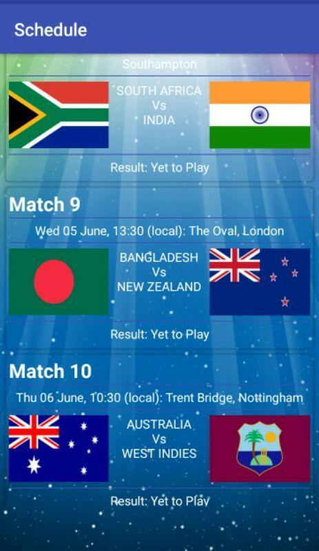 cricinfo world cup 2019 schedule free download
