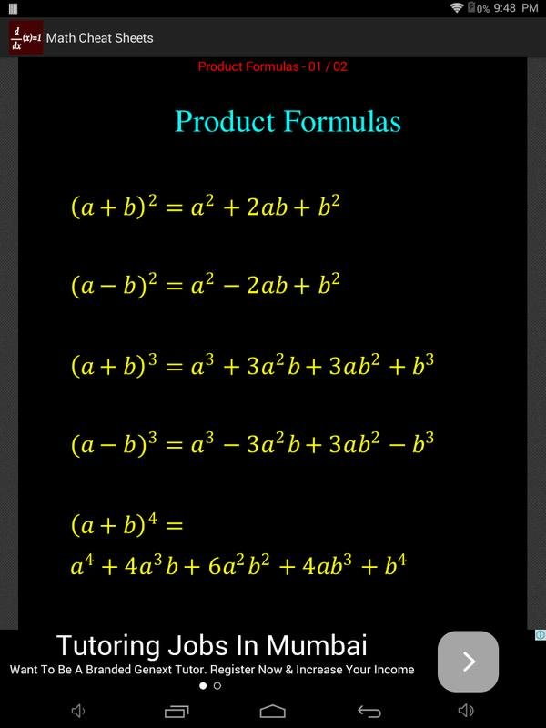 Math Cheat Sheets APK Download - Free Education APP for Android ...
