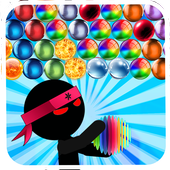 Ninja Stickman bubble shooter free icon