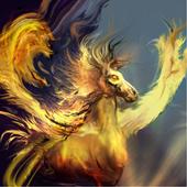 Fiery pegasus icon