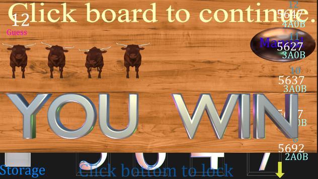Bulls and Cows free Game apk screenshot