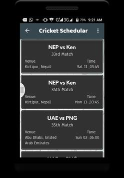 Live cricket schedule 2017 screenshot 3