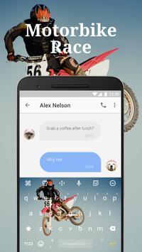 Motorbike Race Emoji Keyboard Theme for musically apk screenshot