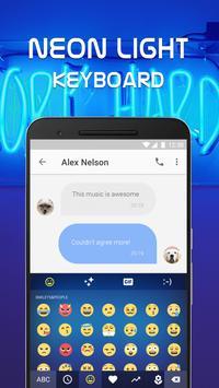 Neon Light Emoji Keyboard Theme for Whatsapp poster