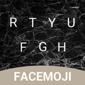 Black Marble Emoji Keyboard Theme for Facemoji icon