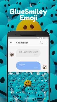 Blue Smiley Emoji Keyboard Theme for Instagram apk screenshot