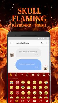 Flaming Skull Keyboard Theme for Whatsapp poster