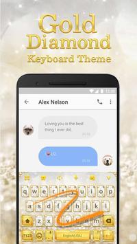 Luxury Gold & Glitter Diamond Emoji Keyboard apk screenshot
