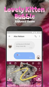 Lovely Kitten Bubble Keyboard Theme for Snapchat screenshot 3