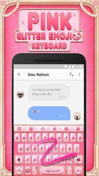 Pink Glitter Emoji Keyboard Theme for Whatsapp screenshot 2