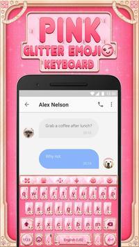 Pink Glitter Emoji Keyboard Theme for Whatsapp screenshot 3