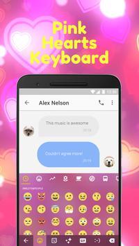 Pink Heart Emoji Keyboard Theme for Facebook poster
