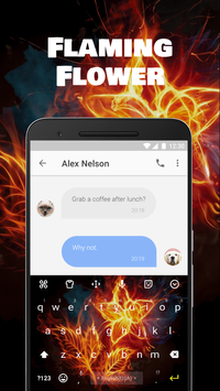 Flaming Flower Emoji Keyboard Theme for Facebook for Android
