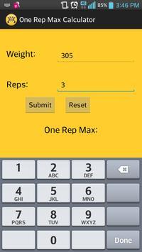 1 Rep Max Calc apk screenshot