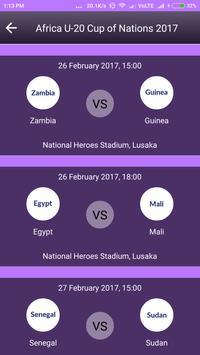 Schedule of Africa U20 2017 apk screenshot