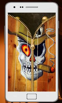 Skull Zipper Screen Lock screenshot 2