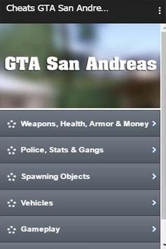 Cheats GTA San Andreas screenshot 1