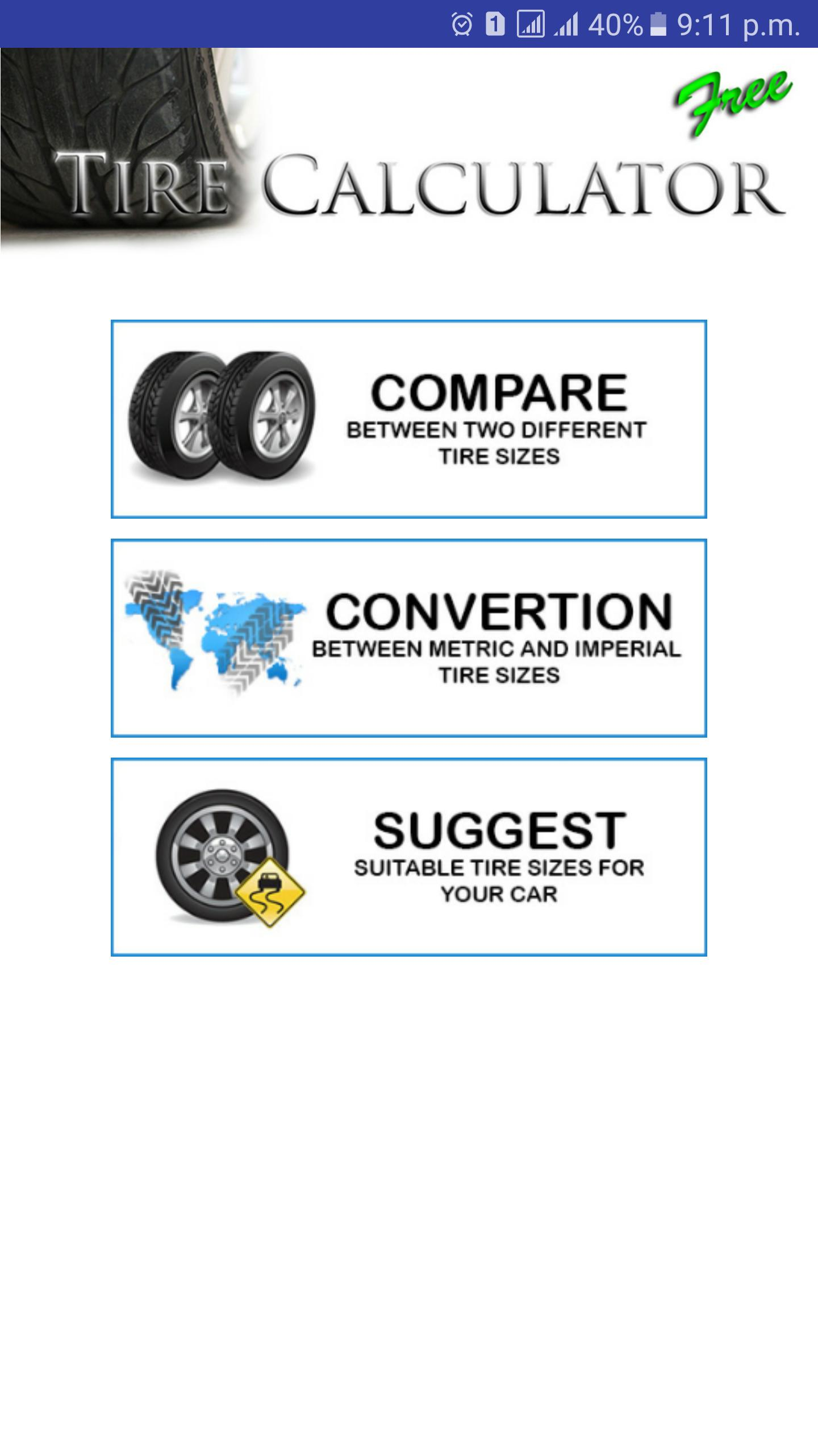 Compare Tire Sizes >> Tire Size Calculator For Android Apk Download