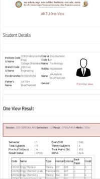 AKTU One View Result screenshot 5