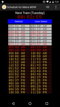 Schedule for Metra - MDW poster