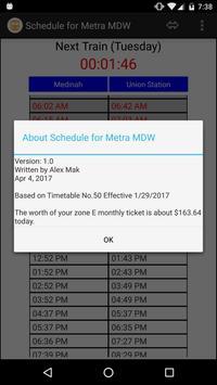 Schedule for Metra - MDW apk screenshot