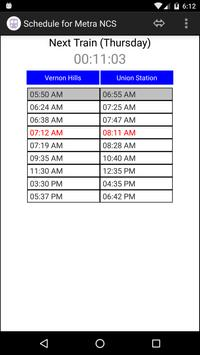 Schedule for Metra - NCS poster