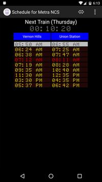 Schedule for Metra - NCS screenshot 1
