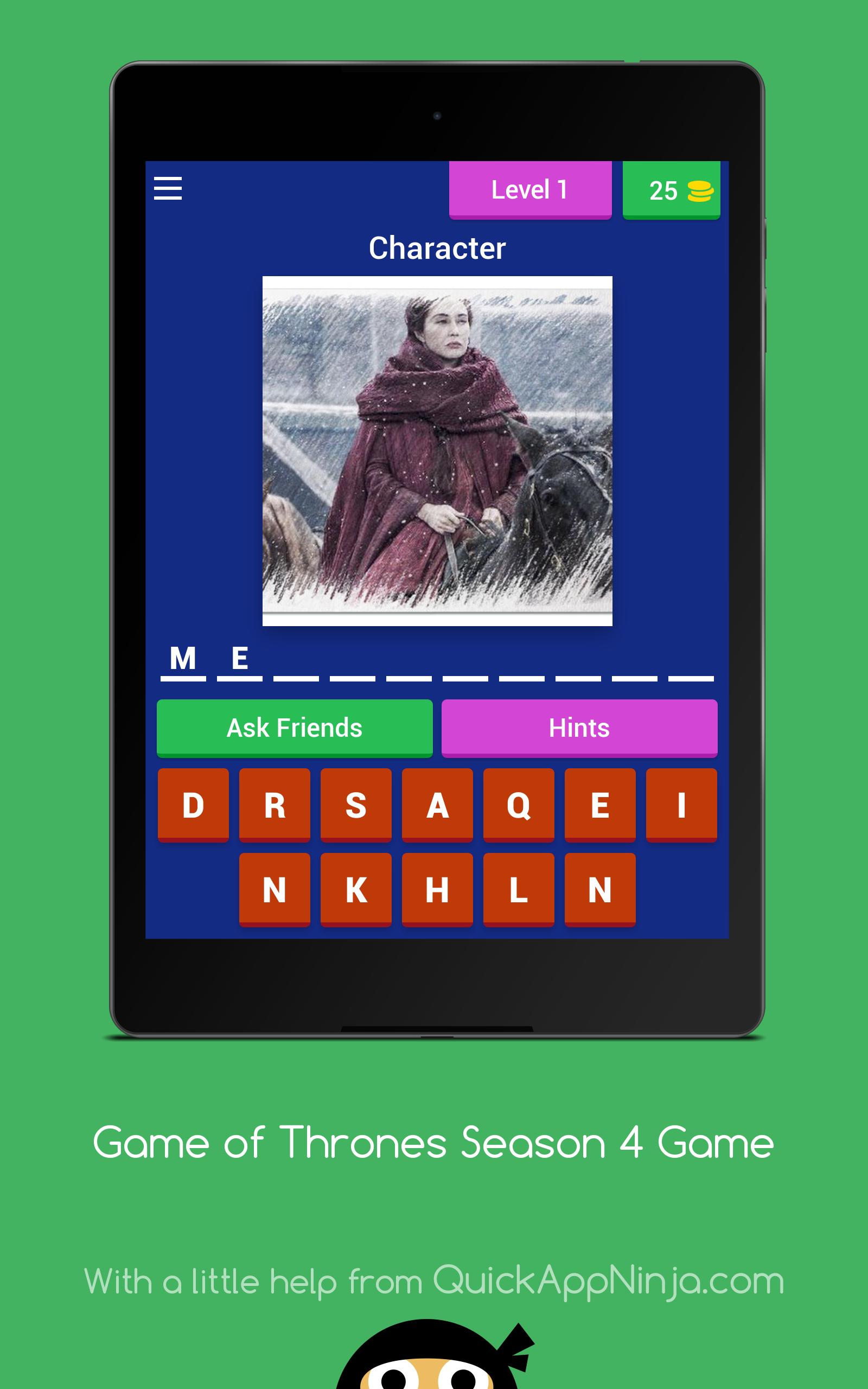 Game of Thrones Season 4 Game  Characters  Quiz  cho Android