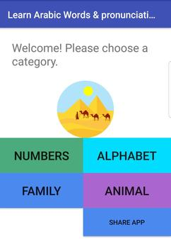 Learn Arabic: Pronunciation of Words and Letters apk screenshot