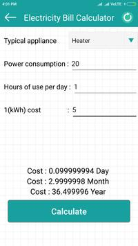Electricity cost calculator تصوير الشاشة 1