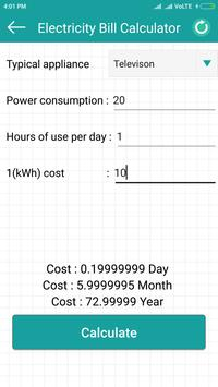 Electricity cost calculator تصوير الشاشة 2
