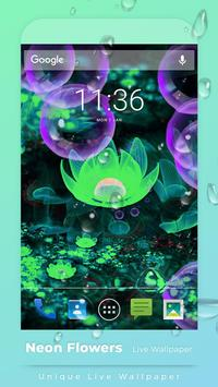 Neon Flowers Free live wallpaper poster