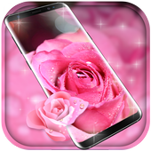 Rose Pink Water Drops Free live wallpaper icon