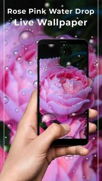 Rose Pink Water Drops Free live wallpaper poster