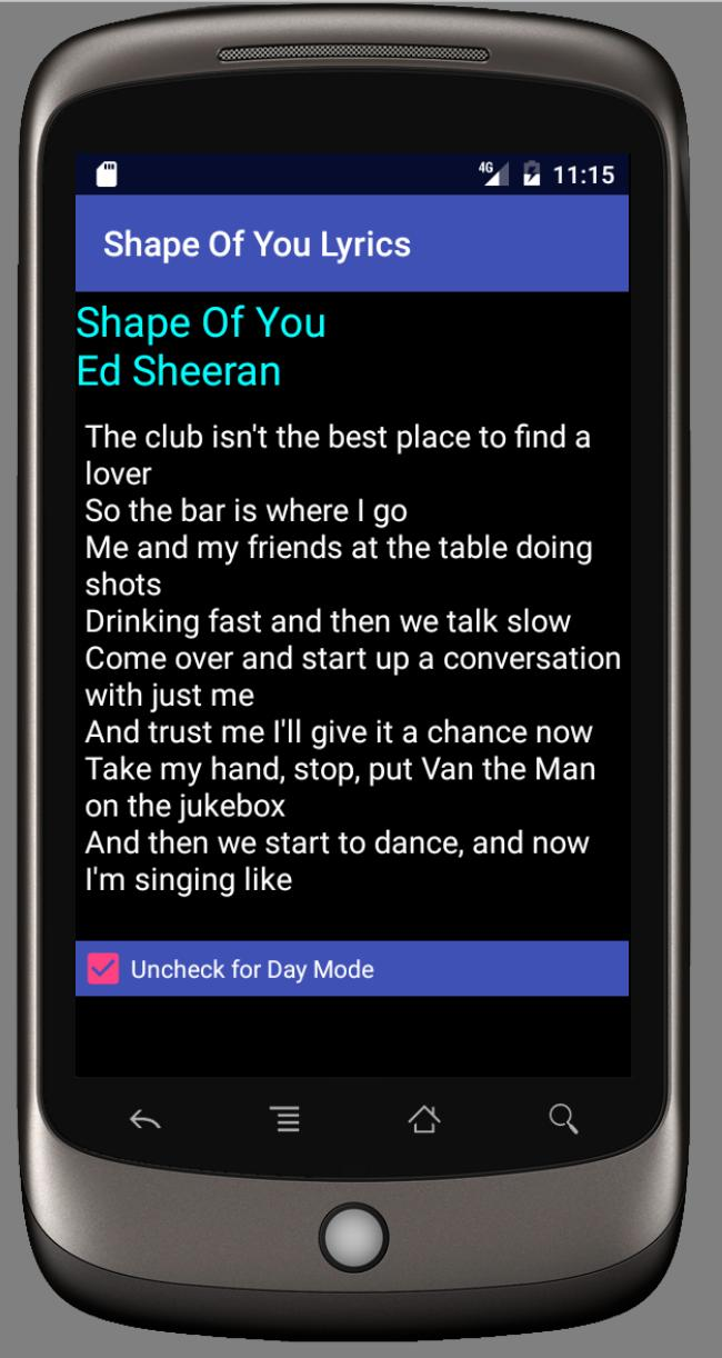 Shape Of You Lyrics for Android - APK Download