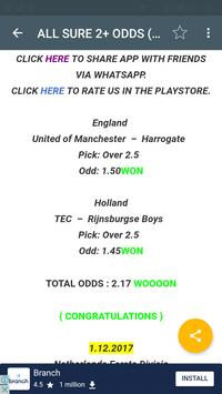 ALL SURE 2+ ODDS SOCCER TIPS screenshot 3