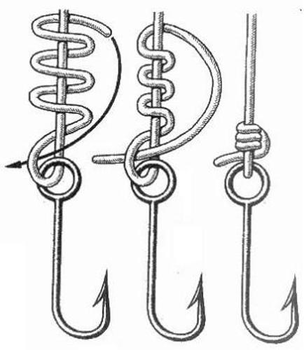 Способы завязывания лески на крючки