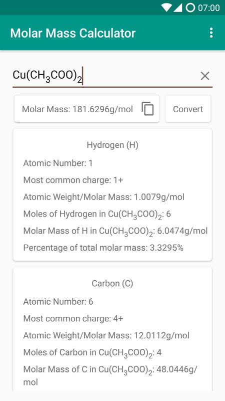 Molar mass calculator apk download free education app for android molar mass calculator apk screenshot urtaz Image collections