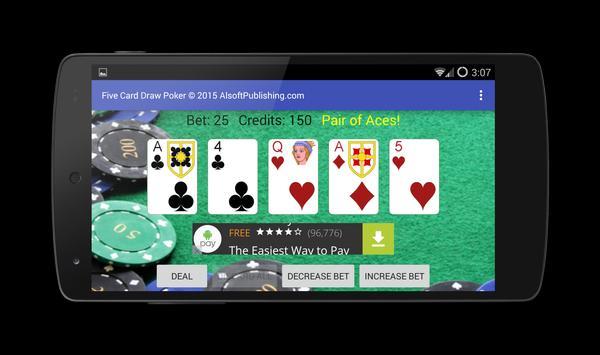 Five Card Draw Poker apk screenshot