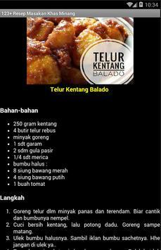 123+ Resep Masakan Khas Minang apk screenshot