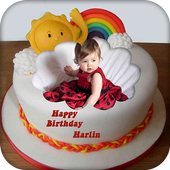 Name Photo On Birthday Cake Icon