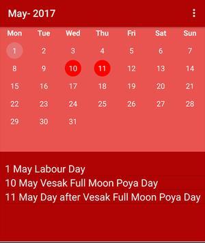 Srilankan Calendar 2017 screenshot 1