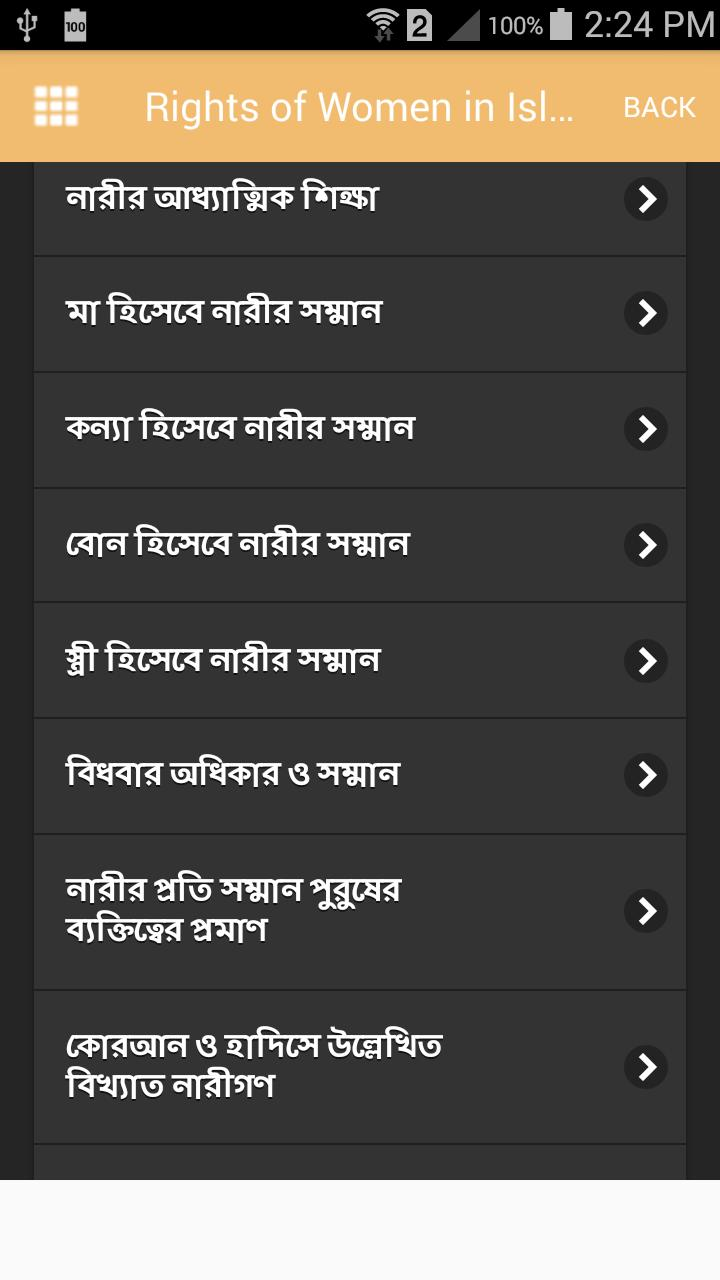 Rights of Women in Islam Explained in Bengali for Android