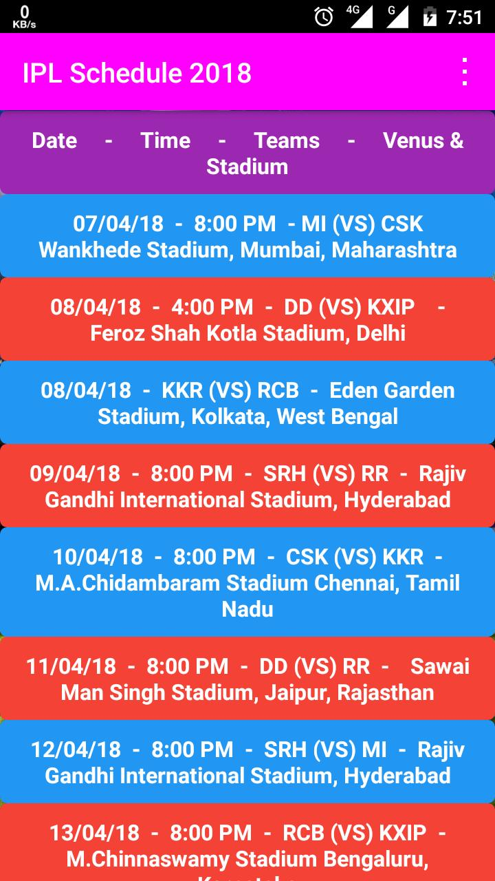 IPL Time Table 2018 poster